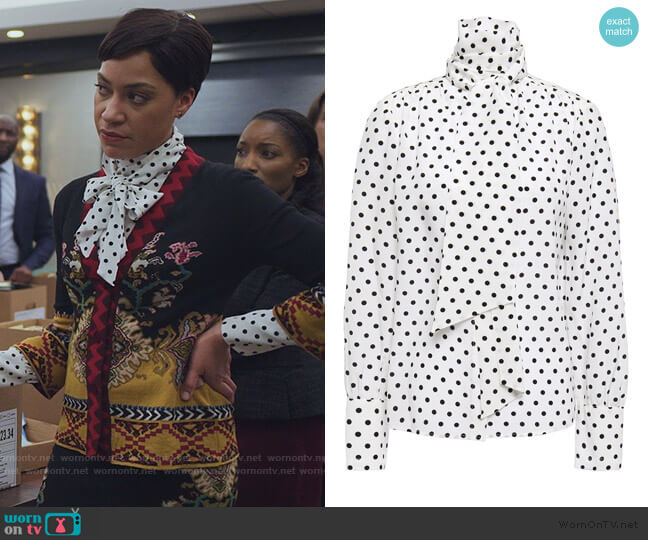 Tie-neck Polka-dot silk Blouse by Jason Wu worn by Lucca Quinn (Cush Jumbo) on The Good Fight