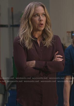 Jen's burgundy blouse on Dead to Me