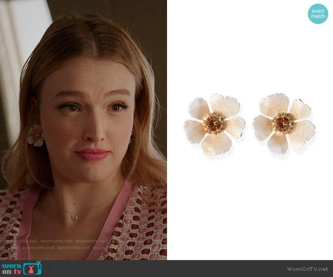 Maria Earrings by Jennifer Behr worn by Kirby Anders (Maddison Brown) on Dynasty