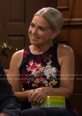 Jennifer's navy floral embroidered dress on Days of our Lives