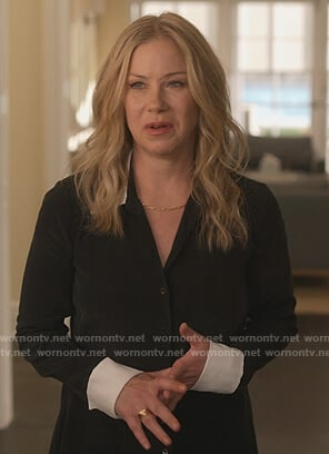 Jen's black contrast blouse on Dead to Me