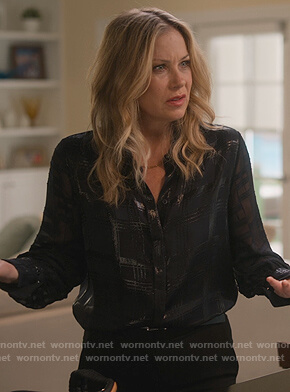 Jen's metallic plaid blouse on Dead to Me