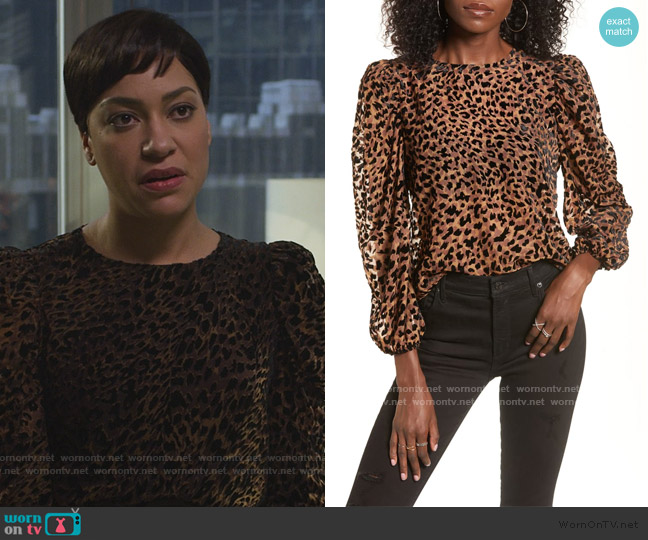 Puff Sleeve Burnout Top by J.O.A. worn by Lucca Quinn (Cush Jumbo) on The Good Fight