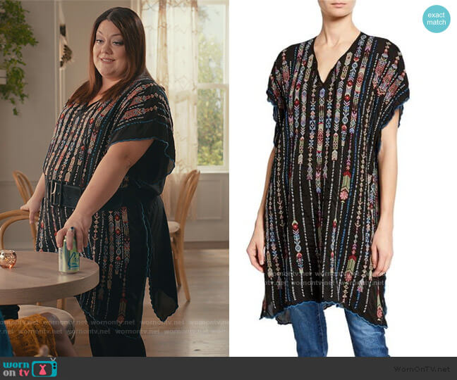 Embroidered Georgette Poncho with Side Slits by Johnny Was worn by Dana Sue Sullivan (Brooke Elliott) on Sweet Magnolias