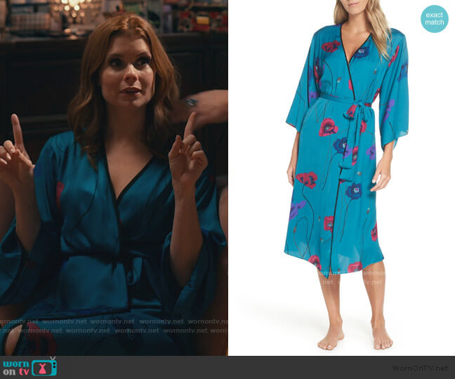 Freestyle Printed Satin Long Robe by Josie worn by Maddie Townsend (JoAnna Garcia Swisher) on Sweet Magnolias