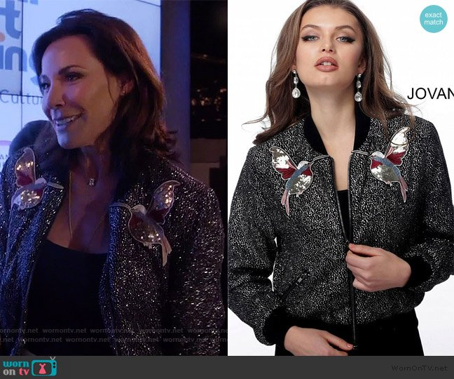 Black Multi Embellished Contemporary Bomber Jacket by Jovani worn by Luann de Lesseps  on The Real Housewives of New York City