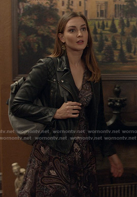 Joy Harper's paisley print dress and black moto jacket on Good Witch