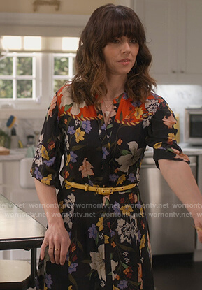 Judy's black floral shirtdress on Dead to Me