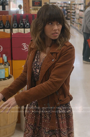 Judy's brown corduroy moto jacket on Dead to Me