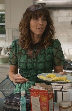 Judy's green lace dress on Dead to Me