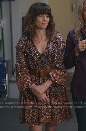 Judy's printed ruffle mini dress on Dead to Me