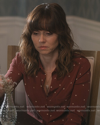 Judy's red star print blouse on Dead to Me