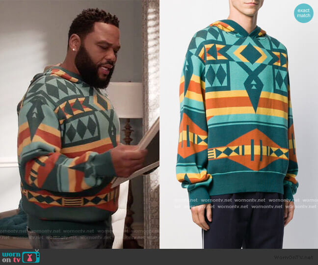 Geometric Patterned Hoodie by Just Don worn by Andre Johnson (Anthony Anderson) on Blackish