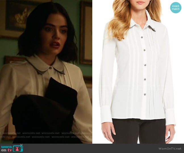 Georgette Double Collar Houndstooth Print Blouse by Karl Lagerfeld Paris worn by Katy Keene (Lucy Hale) on Katy Keene