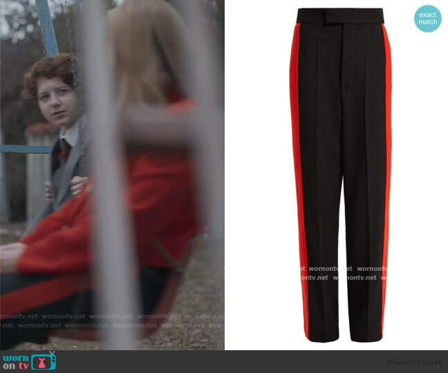 Side-stripe wool-twill trousers by Kwaidan Editions worn by Villanelle (Jodie Comer) on Killing Eve