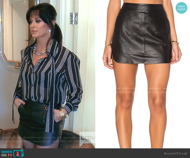 Jacob Leather Skirt by Karina Grimaldi worn by Kyle Richards  on The Real Housewives of Beverly Hills