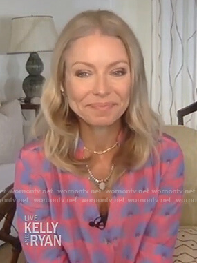 Kelly's pink fan print blouse on Live with Kelly and Ryan
