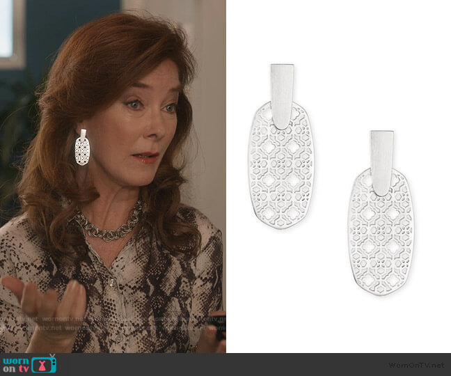 Aragon Filigree Earrings by Kenra Scott worn by Lorna Harding (Valerie Mahaffey) on Dead to Me
