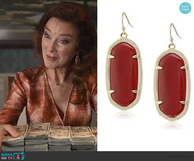 Maroon Jade Drop Earrings by Kendra Scott worn by Lorna Harding (Valerie Mahaffey) on Dead to Me