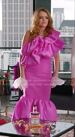 Kirby's pink ruffle one-shoulder dress on Dynasty