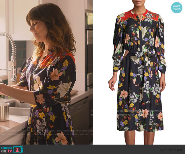 Leila Floral Shirtdress by Kobi Halperin worn by Judy Hale (Linda Cardellini) on Dead to Me