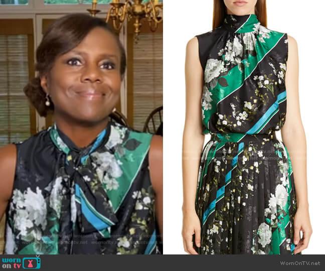 Koten Floral Stripe Tie Neck Top by Erdem worn by Deborah Roberts  on Good Morning America