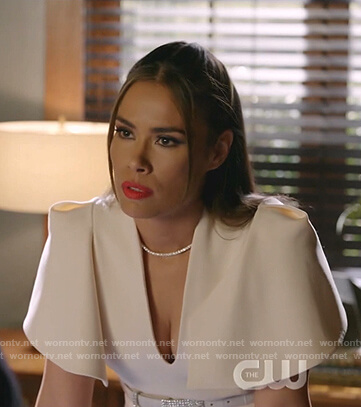 Cristal's white flutter sleeve v-neck dress on Dynasty