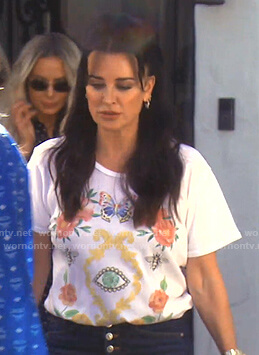 Kyle's white floral eye print tee on The Real Housewives of Beverly Hills