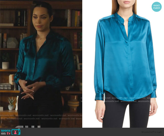 Bianca Silk Charmeuse Blouse by L'Agence worn by Macy Vaughn (Madeleine Mantock) on Charmed
