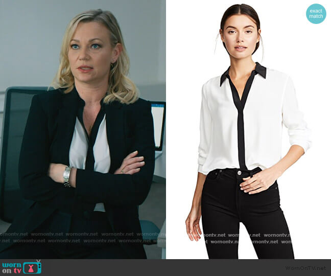 Maxwell Long Sleeve Blouse by L'Agence worn by Sara Hammon (Samantha Mathis) on Billions
