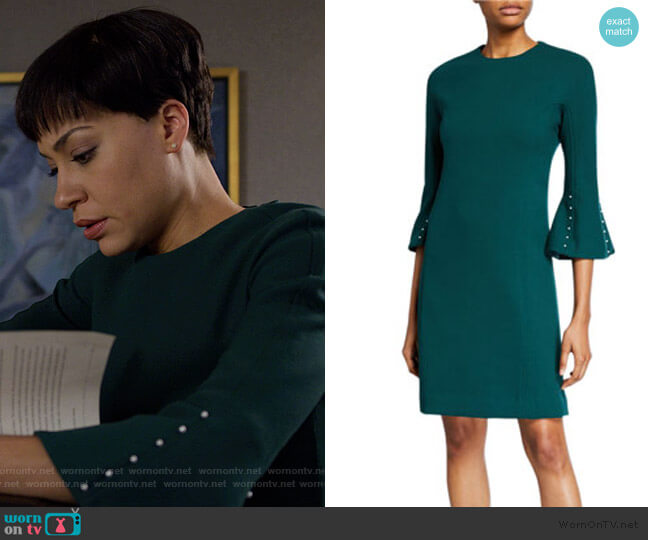 Wool Crepe Pearly Sleeve Tunic Dress by Lela Rose worn by Lucca Quinn (Cush Jumbo) on The Good Fight