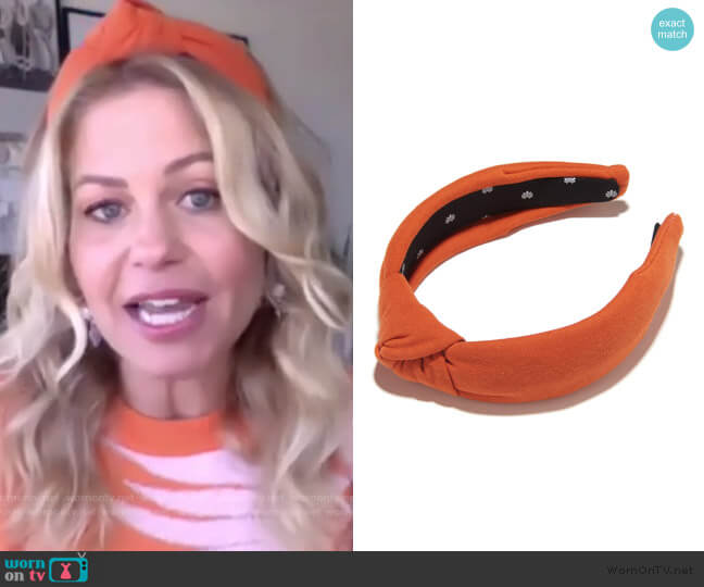 Burnt Orange Jersey Headband by Lele Sadoughi worn by Candace Cameron on The Talk