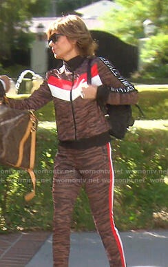 Lisa's brown tiger print track jacket and pants on The Real Housewives of Beverly Hills