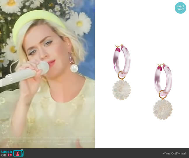 Spritz Pearl Daisy Hoop Earrings by Lizzie Fortunato worn by Katy Perry on GMA