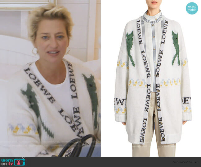 Deer Oversized Mohair-Blend Cardigan by Loewe worn by Dorinda Medley  on The Real Housewives of New York City