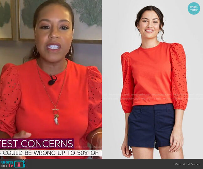 Long Sleeve Eyelet T-Shirt by A New Day at Target worn by Sheinelle Jones  on Today