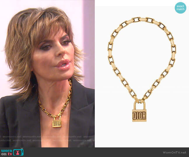 Lucky Locket Necklace by Dior worn by Lisa Rinna  on The Real Housewives of Beverly Hills