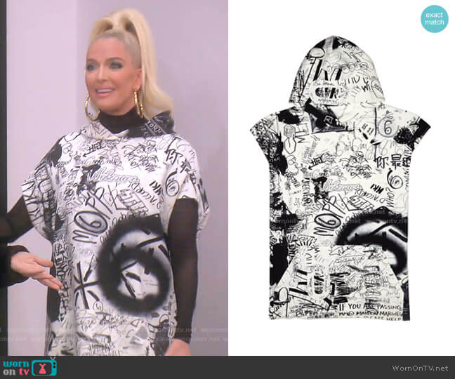 Graffiti Print Cotton Sweatshirt by MM6 by Maison Margiela worn by Erika Girardi  on The Real Housewives of Beverly Hills