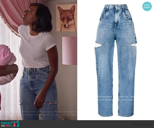 Cut out Detail Jeans by Maison Margiela worn by Molly Carter (Yvonne Orji) on Insecure