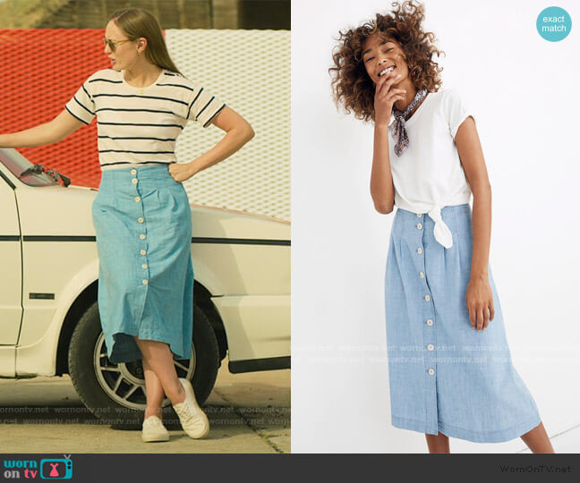 Chambray Patio Button-Front Midi Skirt by Madewell worn by Zoe Walker (Laura Haddock) on White Lines