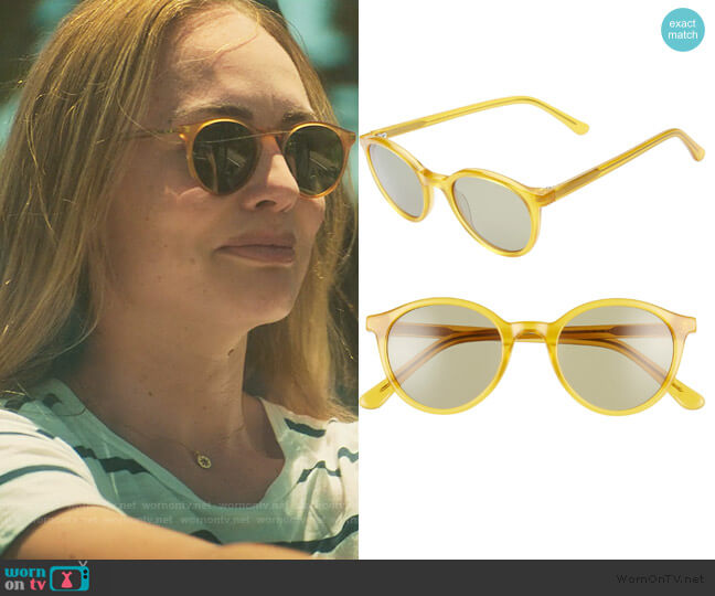 Layton 48mm Round Sunglasses by Madewell worn by Zoe Walker (Laura Haddock) on White Lines