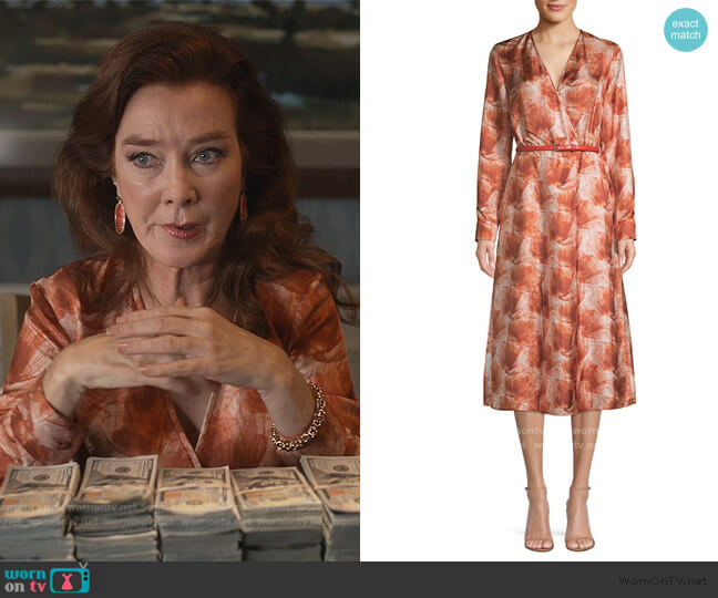 Cenere Abstract Floral Silk Belted Wrap Dress by Max Mara worn by Lorna Harding (Valerie Mahaffey) on Dead to Me