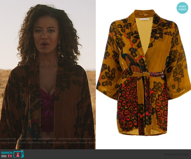 Velvet Floral Cardigan by Mes Demoiselles worn by Maria DeLuca (Heather Hemmens) on Roswell New Mexico