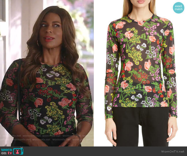 Freddie Floral Print Mesh T-Shirt by Molly Goddard worn by Poppy (Kimrie Lewis) on Single Parents