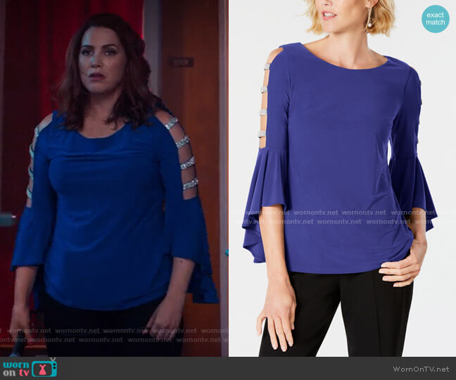 Embellished Bell-Sleeve Top by MSK worn by Sara Chase on Unbreakable Kimmy Schmidt