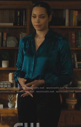 Macy's blue satin blouse on Charmed