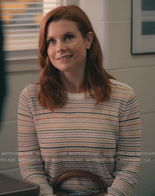 Maddie's white metallic stripe sweater on Sweet Magnolias