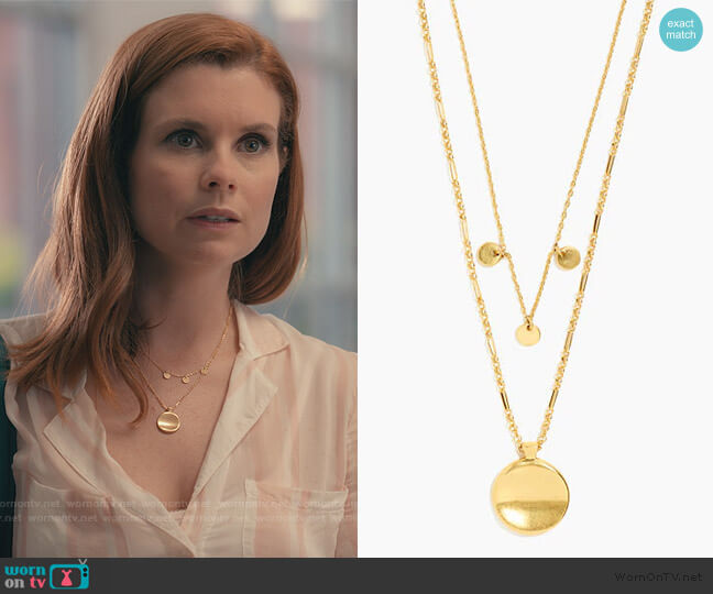 Nostalgia Coin Necklace Set by Madewell worn by Maddie Townsend (JoAnna Garcia Swisher) on Sweet Magnolias