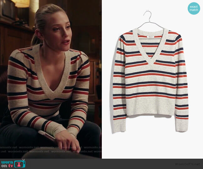 Striped Westgate V-Neck Sweater in Coziest Yarn by Madewell worn by Betty Cooper (Lili Reinhart) on Riverdale