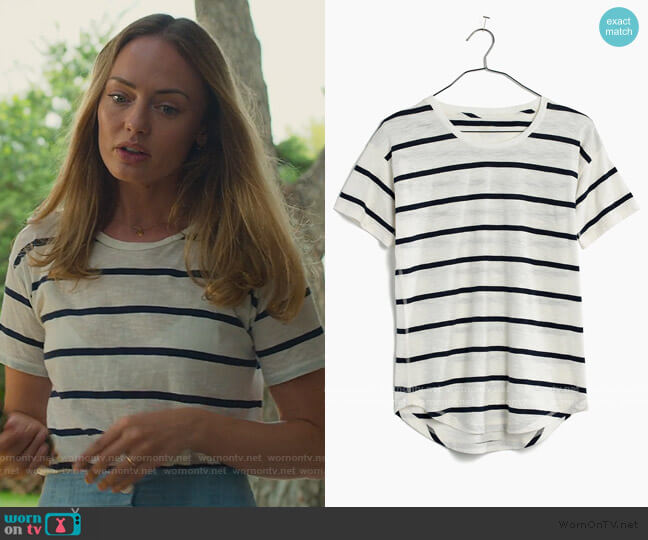Whisper Cotton Crewneck Tee in Creston Stripe by Madewell worn by Zoe Walker (Laura Haddock) on White Lines